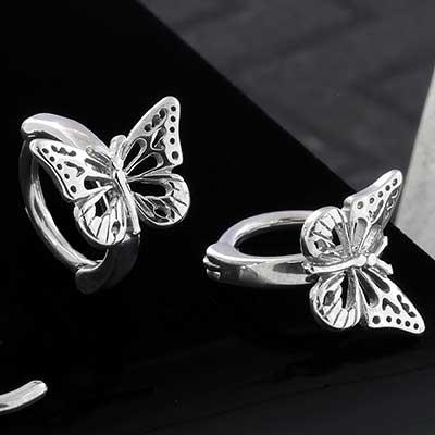 Steel Side Set Butterfly Clicker Ring