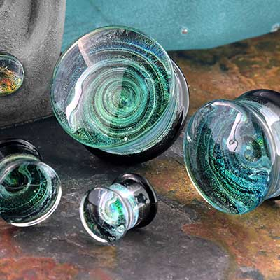 Glass Green Foil Swirl Plug