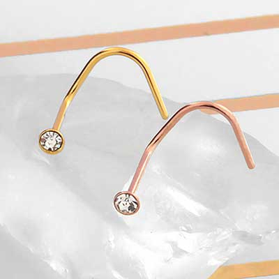Gold Colored Bezel Set Gemmed Nosescrew