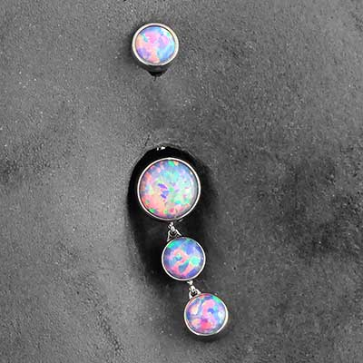 Titanium Bezel Set Dangle Navel