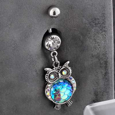 Iridescent Jeweled Owl Navel