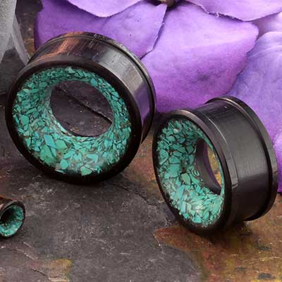 Arang Wood Eyelet with Synthetic Mosaic Turquoise
