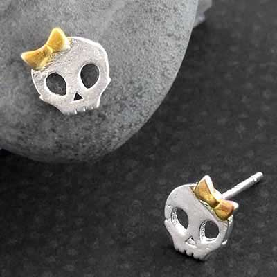 Bow Skull Stud Earrings