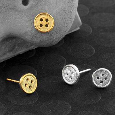 Steel Button Earrings