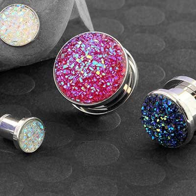 Steel Synthetic Druzy Plugs
