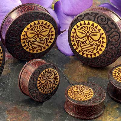 Dark Tamarind Wood Sun Tradition Plugs