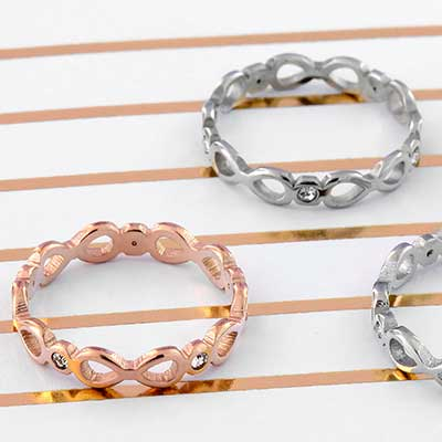 Gemmed Infinity Band Ring