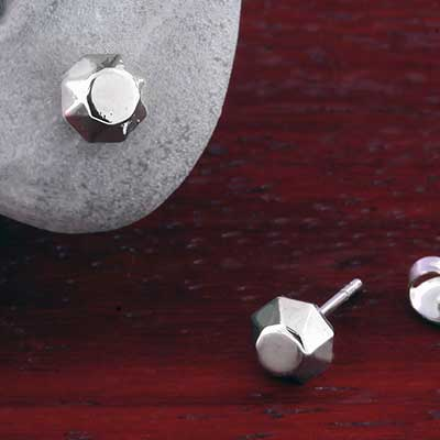 Steel Faceted Stud Earrings
