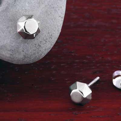 Steel Faceted Stud Earrings
