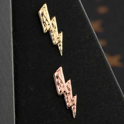 14k Gold Hammered Lightning Bolt Threadless End