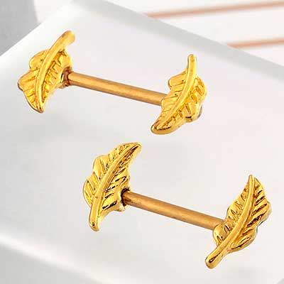 Gold Feather Nipple Barbell
