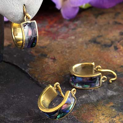 Brass and Synthetic Abalone Hoop Design