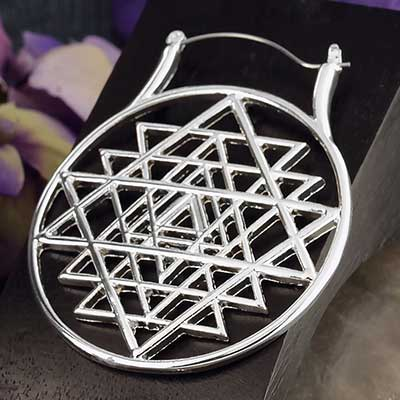 Sri Yantra Hoop Earrings