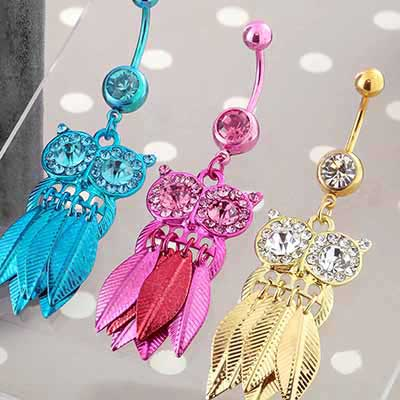 Super Gemmed Dancing Owl Dangle Navel