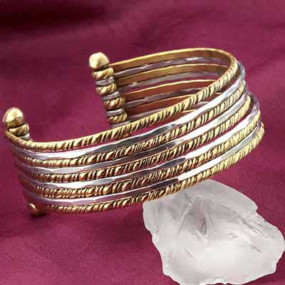 Mixed Metal Twisted Bangle Cuff Bracelet