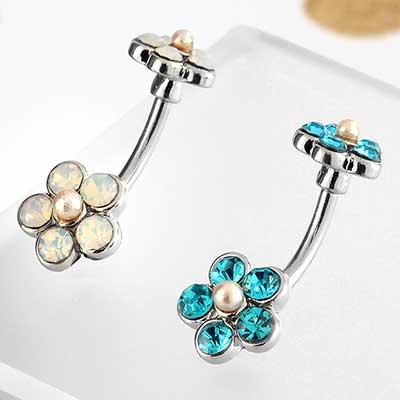 Jeweled Double Flower Navel with Faux Pearl