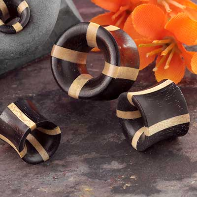 Double Flare Striped Arang Wood Plug