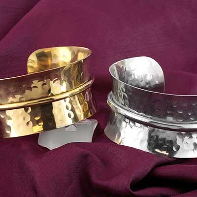 Dimpled Bangle Cuff Bracelet