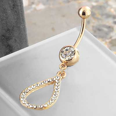Gold Colored Navel with Hollow CZ Teardrop Dangle