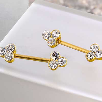 Gold Trinity Gem Nipple Barbell