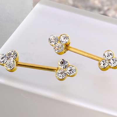 Gold Trinity Gem Nipple Barbell