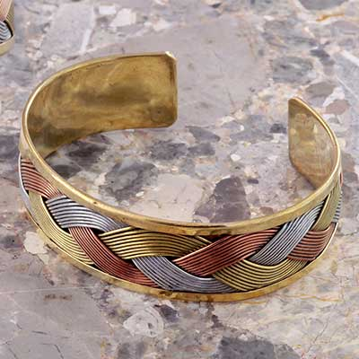 Metal Braided Cuff Bracelet