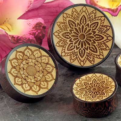 Dark Tamarind Wood Etched Mandala Plugs