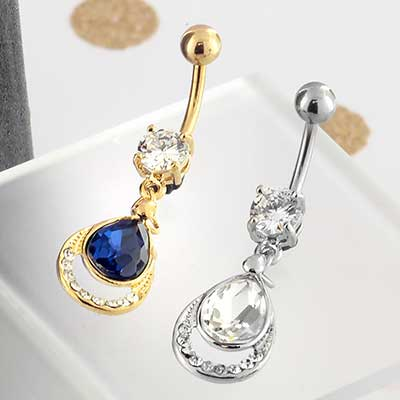 Layered Teardrop Dangle Navel