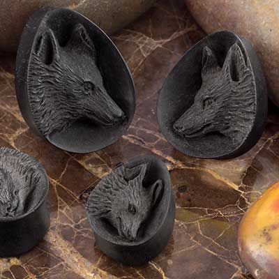Arang Wood Wolf Teardrop Plugs