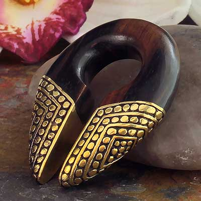 Arang Wood and Beaded Brass Keyhole Weights