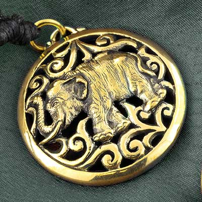 Brass Ornate Elephant Necklace