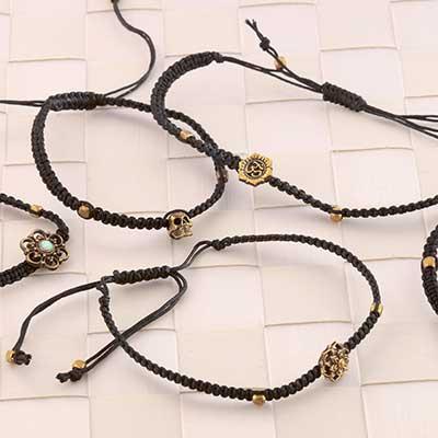 Assorted Black Bracelet with Brass Beads
