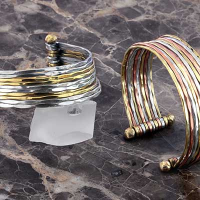 Mixed Metal Faceted Bangle Cuff Bracelet