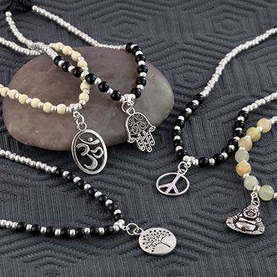 Metal Symbol and Stone Beaded Anklet