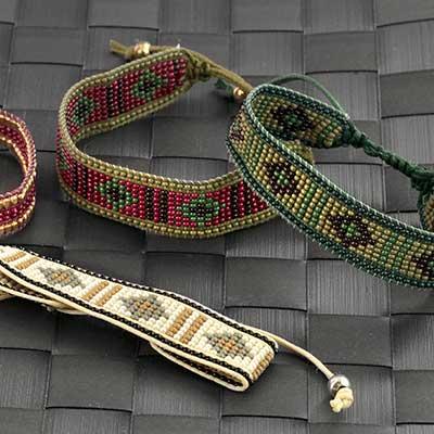 Assorted Geometric Print Bead Bracelet
