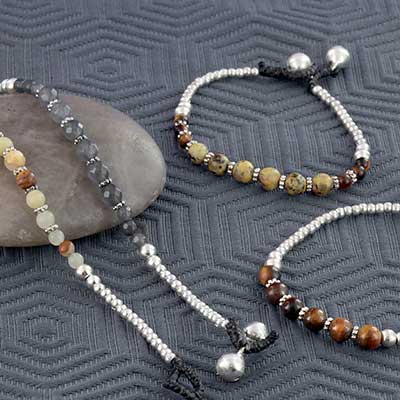 Metal and Stone Beaded Bell Bracelet