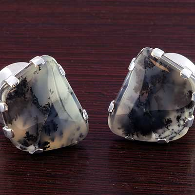 Silver Plugs with Free Form Dendritic Agate