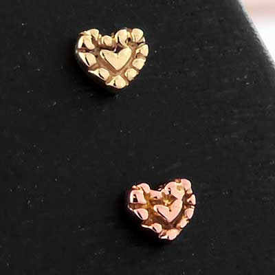 14K Gold Fancy Heart Threadless Ends