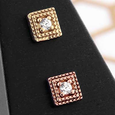 14K Gold Double Milligrain Square Threadless Ends