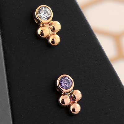 14K Gold Cluster Bezel Set Threadless Ends