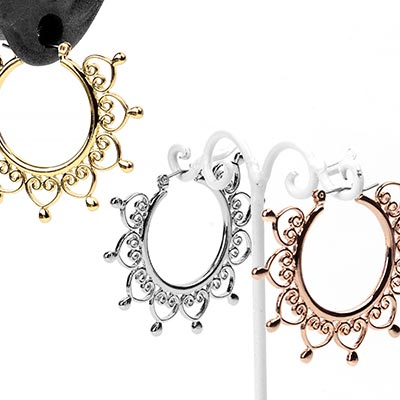 Filigree Heart Hoop Earrings