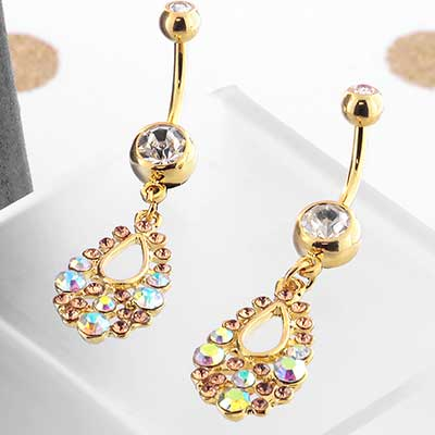 AB Filigree Gold Teardrop Navel