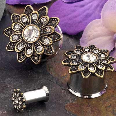 Brass Crystal Flower Plug