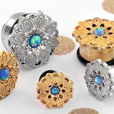 Synthetic Opal Paisley Flower Plugs