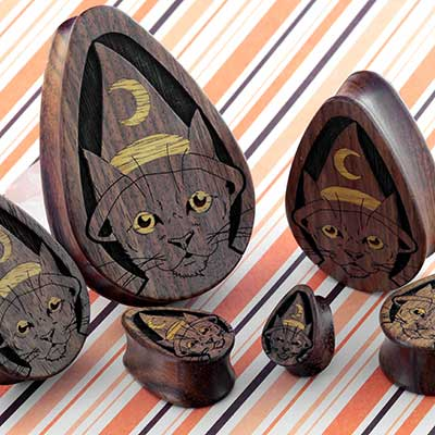 Witchy Cat Teardrop Plugs