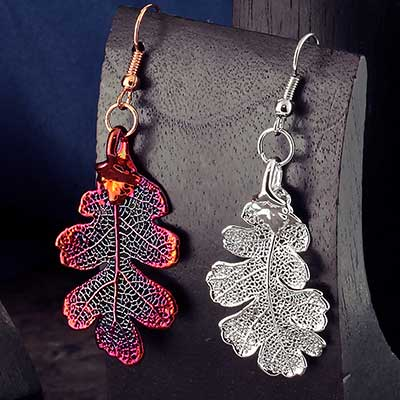 Electroplated Lacey Oak Leaf Earrings