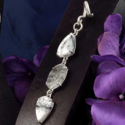 Silver and Dendritic Agate with Tourmalated Quartz Weights