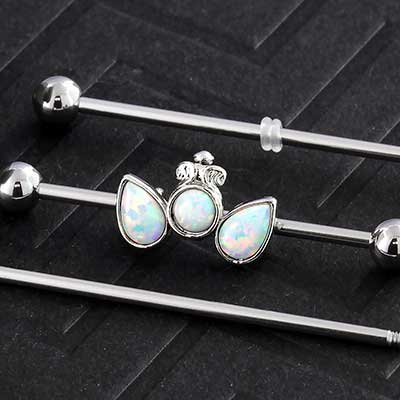 Double Pear Synthetic Opal Industrial Barbell Set