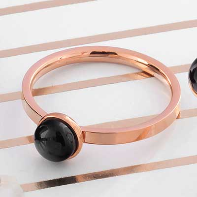 Rose Gold Ring with Black Onyx
