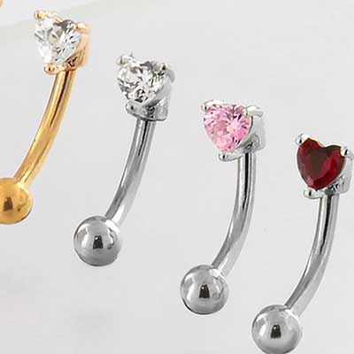 Heart Gem Curved Barbell